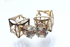 Pryder med pärlor liten och nätt örhängen för smycken med diamanter i vit Royaltyfri Fotografi
