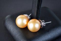 Pryder med pärlor örhängen Royaltyfri Fotografi