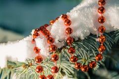 Prydlig filial i snö med julgarnering arkivfoto