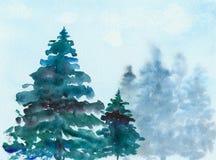 Prydliga julgranar i skogen, vattenfärg, illustration Royaltyfri Foto