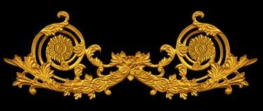 Prydnad av guld blom- pläterad tappning royaltyfri fotografi