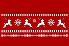 Prydnad av hjortar och snöflingor vektor illustrationer