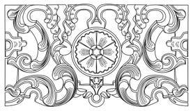 Prydnad för barock geometri för tappning blom- Arkivbild