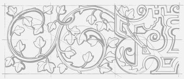 Prydnad för barock geometri för tappning blom- Royaltyfri Fotografi