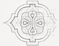 Prydnad för barock geometri för tappning blom- Den tecknade handen skissar Arkivfoto