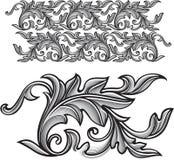 Prydnad för barock gravyr för vektortappning blom- - ändlös patte Royaltyfria Bilder