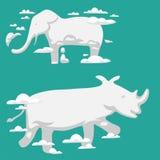 Prydnad för fä för djur för molnkonturmodell för vektor för illustration för abstrakt begrepp för himmel miljö för tecknad film n vektor illustrationer