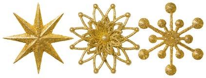 Prydnad för garnering för stjärnasnöflingajul, utsmyckad Xmas-guld royaltyfri bild