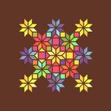 Prydnad för målat glass för stjärnaform färgrik geometrisk, vektor Royaltyfri Foto