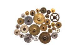 Prydnad för maskineri för mekaniker för kuggekugghjulhjul som isoleras på vit Tappningteknologi särar closeupen Abstrakt formobje Royaltyfri Foto