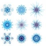 Prydnad för modell för snöflingavektorvinter rund för design vektor illustrationer