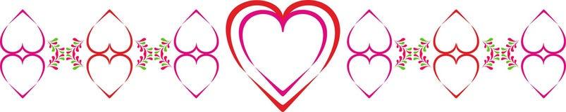 Prydnad för valentin dag med hjärtor och stiliserade gröna kronblad Flerfärgad hjärtai-linje i vektor Arkivfoto