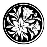 Prydnad för vit blomma på en svart cirkelbakgrund också vektor för coreldrawillustration stock illustrationer