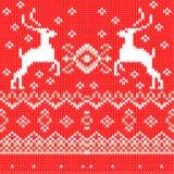 Prydnad för vit jul på röd bakgrund. Vektor Royaltyfri Foto