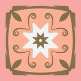 Prydnad med rosa färg- och bruntfärg stock illustrationer