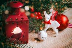 prydnadar för handbell för jul för bollaskfilial Arkivbilder