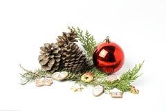 prydnadar för handbell för jul för bollaskfilial _ toys Santa Claus; Stearinljus; Gåvor; Royaltyfri Foto