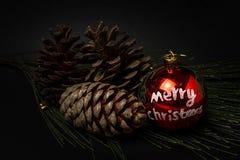 prydnadar för handbell för jul för bollaskfilial _ toys Santa Claus; Stearinljus; Gåvor; Royaltyfria Bilder