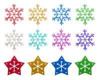 Prydnadar för Snowflingajul Arkivbild