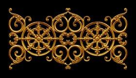 Prydnadbeståndsdelar, guld- blom- designer för tappning Arkivbild
