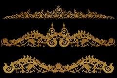 Prydnadbeståndsdelar, guld- blom- designer för tappning Arkivbilder