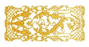Prydnadbeståndsdelar, guld- blom- designer för tappning Arkivfoton