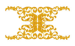 Prydnadbeståndsdelar, guld- blom- designer för tappning Arkivfoto