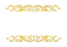 Prydnadbeståndsdelar, guld- blom- designer för tappning Fotografering för Bildbyråer