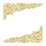Prydnadbeståndsdelar, guld- blom- designer för tappning royaltyfria bilder