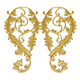 Prydnadbeståndsdelar, guld- blom- designer för tappning royaltyfria foton