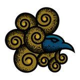 Prydnaddesign med retro stil beskriva fågelns huvud Med dekorativa fjädrar som är rund och retro stil stock illustrationer