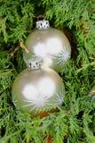 Prydnader för jul för silver för File:///home/jena/Obr à ¡ zky/Fotobanky/2016/Nehotové/05/13/Raw/Two på gröna visare raf Royaltyfria Bilder