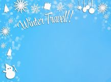 Prydnader för vit jul gränsar på blåttsnöbakgrund Arkivbilder