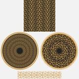 Prydnader för en uppsättning i orientalisk stil Det inkluderar den sömlösa fyrkantiga modellen, mandalaen för två cirkulär och de Fotografering för Bildbyråer