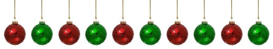 Prydnader: Jul smyckar röda och gröna gränser Royaltyfria Foton