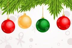 Prydnader som hänger från julgranbakgrund Stock Illustrationer