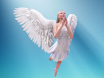 Prying white angel. In blue sky Stock Photography