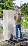 Pryluky,乌克兰- 09/14/2018:雕刻讨论会,创作  免版税库存图片