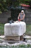 Pryluky,乌克兰- 09/14/2018:雕刻讨论会,创作  库存照片