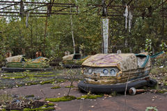Prypiat funpark. Remains of a bumper cars track in Prypiat's funpark stock image
