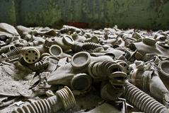 Prypiat - gas masks. Gas masks left during the evacuation of Prypiat's primary school stock image