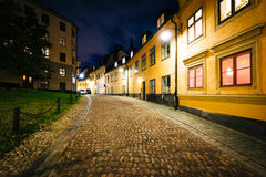Pryssgränd, a cobblestone street at night, near Slussen, in Sö Royalty Free Stock Photos