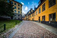 Pryssgränd, a narrow street in Södermalm, Stockholm, Sweden. Royalty Free Stock Images