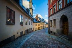 Pryssgränd, a narrow street in Södermalm, Stockholm, Sweden. Royalty Free Stock Photography