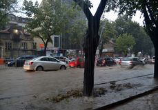 Prysznic trwa wokoło i godziny połówkę zalewał Varna fotografia royalty free