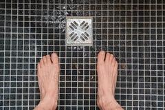 Prysznic wodny spływanie obrazy royalty free