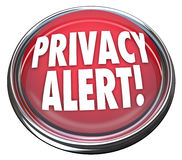 Prywatność 3d Czerwonego guzika Raźnego światła Ostrzegawczy niebezpieczeństwo Fotografia Stock
