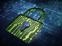 Prywatności pojęcie: Zamknięta kłódka na cyfrowym ekranie Fotografia Royalty Free