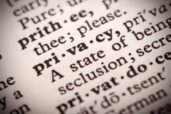 Prywatności definicja Zdjęcie Royalty Free