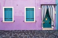 Przód dom na wyspie Burano italy Venice Zdjęcie Stock